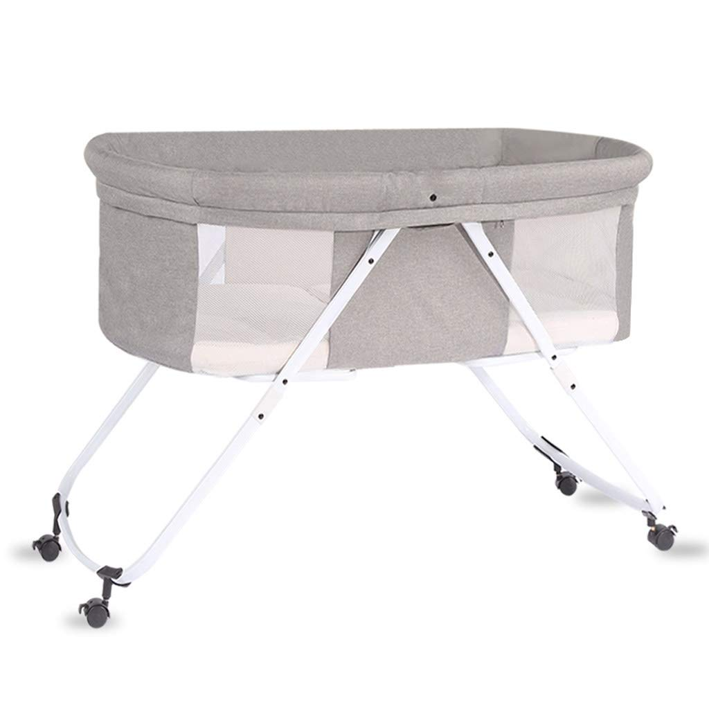 Balance Bouncer Cradle Rocking Bassinet,Portable Newborn Crib 2 in 1 Lightweight Travel Cradle W/Detachable Washable Mattress Both Side Breathable Mesh Side (Color : Gray 2)