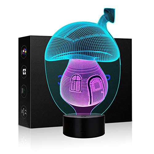 3D Night Lights for Children, Kids Night Lamp, Playing Cards Toys for Boys, 7 LED Colors Changing Lighting, Touch USB Charge Table Desk Bedroom Decoration, Gifts Ideas Birthday Xmas (Mushroom House)