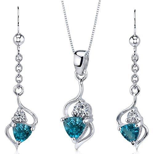 London Blue Topaz Pendant Earrings Set Sterling Silver Rhodium Nickel Finish 1.75 Carats ()