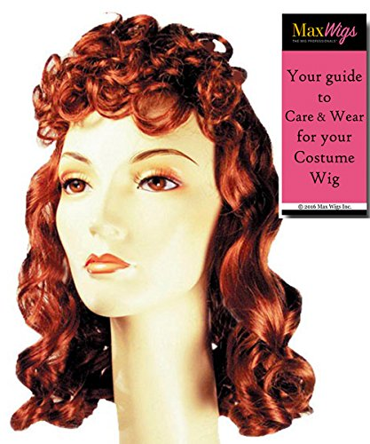 Movie Queen 1940s Color Auburn - Lacey Wigs Women's Stanwyck Bette Davis Bergman Curly Bundle with MaxWigs Costume Wig Care Guide -