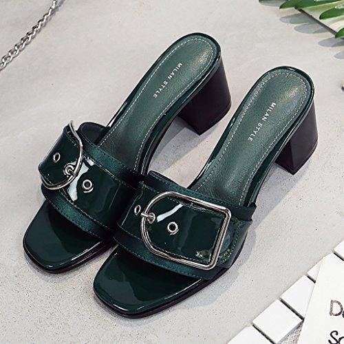 PENGFEI Chanclas de playa para mujer Zapatillas de playa Sandalias de compras verano Lado femenino con sandalias antideslizantes Beige, negro y verde Cómodo y transpirable ( Color : Negro , Tamaño : E Verde