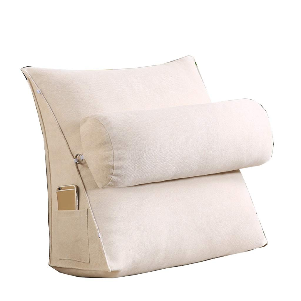 Lil with Headrest Sofa Waist Belt Triangle Cushion, Bed Head Large Office Backrest, Protection Neck Pillow,Removable Washable (Color : Beige, Size : 454520cm)