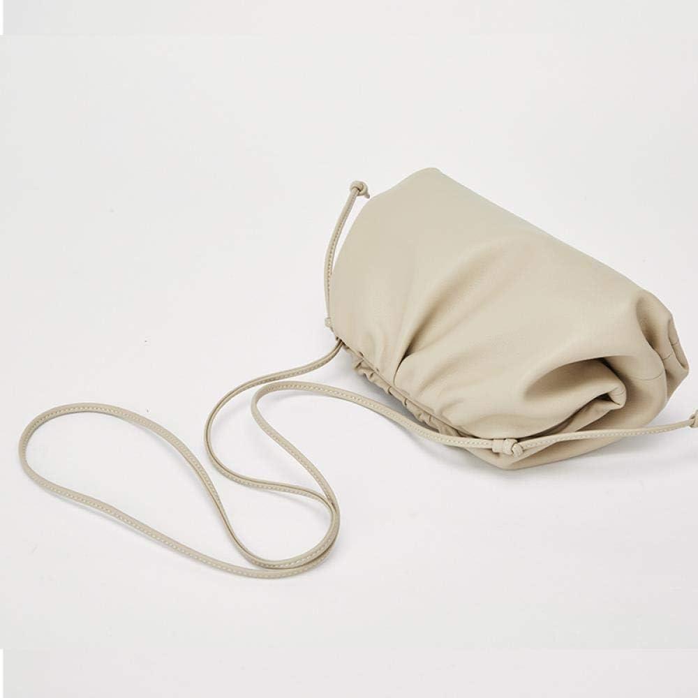 beifangww Personalität Mode 100 setzt Reine Farbe einfache Cloud -Tasche Lederklammer Kinder eine Schulter geneigte Handtasche Handtasche, schwarz Grün