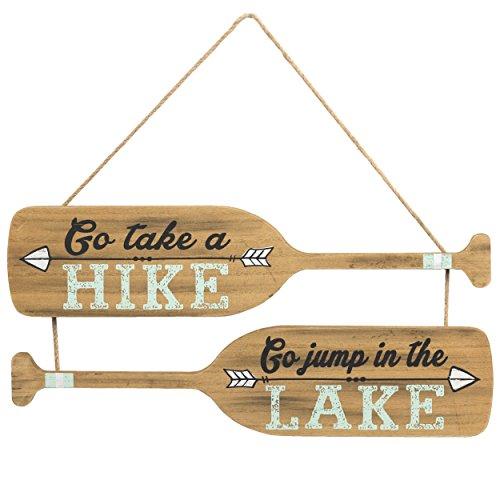PRINZ Rustic Retreat Oar Shaped Go Jump.Lake Plaque by PRINZ