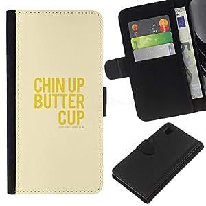 KingStore / Leather Etui en cuir / Sony Xperia Z1 L39 / Optimista feliz amarillo Positivo texto