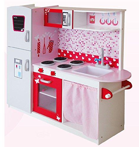 Leomark Grande y Brillante Royal Cocina Madera Infantil de Juguete - Color Pink - para Ninos, Juego de Imitacion Dim 104x30x110 (Altura) cm