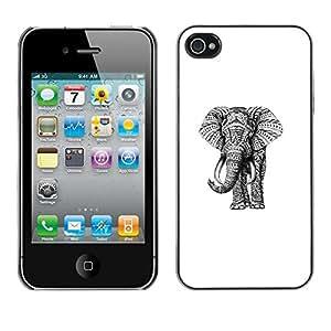 FlareStar Colour Printing Elephant Purple Pink Teal Drawing Art cáscara Funda Case Caso de plástico para Apple iPhone 4 / iPhone 4S / 4S