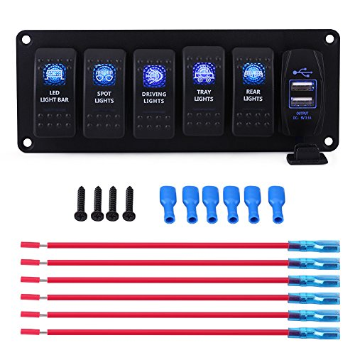 6 Gang Rocker Switch Panel, Waterproof LED Backlight Rocker Switch & 3.1A Dual USB DC12V/24V for Car Boat Marine RV Truck Camper Vehicles Blue ()