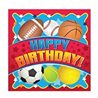 Hanna K. Signature Collection 36 Count Birthday Sports Paper Beverage Napkin, Red