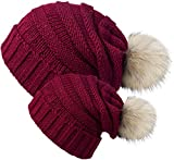 Chalier 2 Pack Winter Warm Knit Baggy Slouchy Pom Pom Beanie Hat For Mom & Baby 2 Pack (Wine Red) L & S