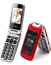 Artfone mobiele telefoon voor senioren, klapmobiele telefoon, zonder contract, dual sim, dual display, mobiele telefoon met alarmknop, 2,4 inch display, met laadstation, zaklamp, radio, lange stand-by