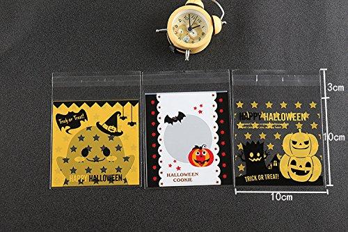 Saasiiyo 100pcs Halloween cookie packaging 10x10cm cupcake wrapper bags Plastic packaging self adhesive bags OPP Gift Poly Halloween Bag (Halloween Costume Party In Greensboro Nc)