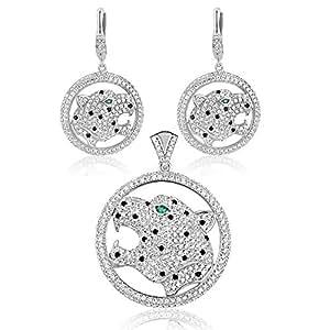 Adorno Collar y Aretes Pantera Plata y Swarovski Crystal Cubic Zirconia - CRY J213-J304 X - Blue Pearls