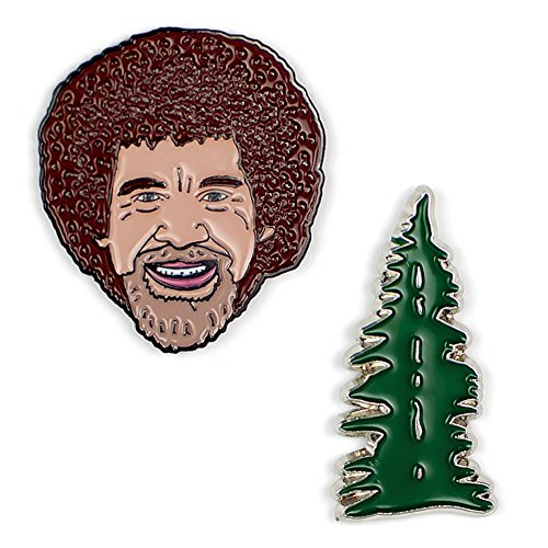 (The Unemployed Philosophers Guild Bob Ross and Happy Tree Enamel Pin Set - 2 Unique Colored Metal Lapel Pins)