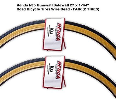 """Kenda k35 Gumwall Sidewall 27 x 1-1/4"""" Road Bicycle Tires Wire Bead - PAIR (2 TIRES)"""