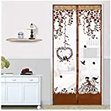 1 PC 100X210cm Magnetic Mesh Screen Door Fly Bug Insect Mosquito Net Curtain print bird brown