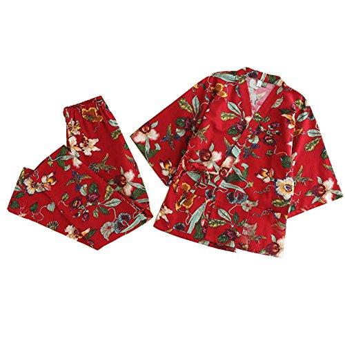 甘い女性の和風ロングスリーブローブコットン着物パジャマスーツドレスアップセット赤