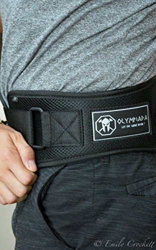 "Olympiada Low Profile Weight Lifting Belt 4"" 6""Black For WeightLifting, Gym, Crossfit, Olympic Lifting and Fitness Safely Support and Protect your Back from Injury"