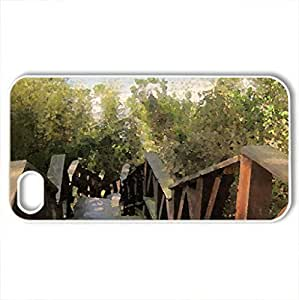 Bamboo trail - Case Cover for iPhone 4 and 4s (Mountains Series, Watercolor style, White)