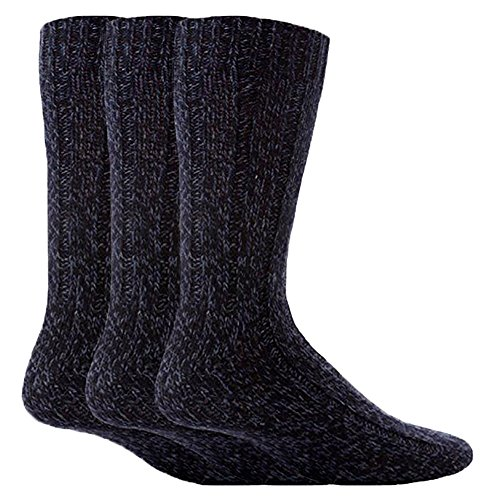 Workforce - 3 Pack Mens Thick Wool Knitted Heavy Duty Hiking Work Boot Socks (3 Pack, WFH0025NVY)