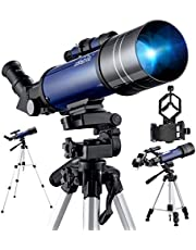 BEBANG Telescoop Astronomie, 70 mm diafragma 400 mm volledig verwerkte glasoptiek, met verstelbaar statief, telefoonadapterbevestiging