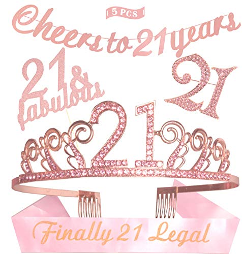 (21st Birthday Decorations Party Supplies | Pink 21st Birthday Tiara | 21st White Satin Sash Finally 21 Legal | Pink Glittery Cheers to 21 years Banner | 21& Fabulous Cake)