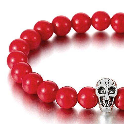 8MM Rouge Gemme Pierre Synthétique, Homme Femme Bracelet de Perles avce crâne Charme, Prayer Mala