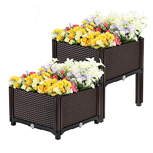 (VIVOHOME Elevated Plastic Raised Garden Bed Planter Kit for Flower Vegetable Grow Brown Set of 2)