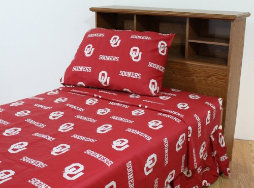 College Covers Oklahoma Sooners Printed Sheet Set - King - Solid