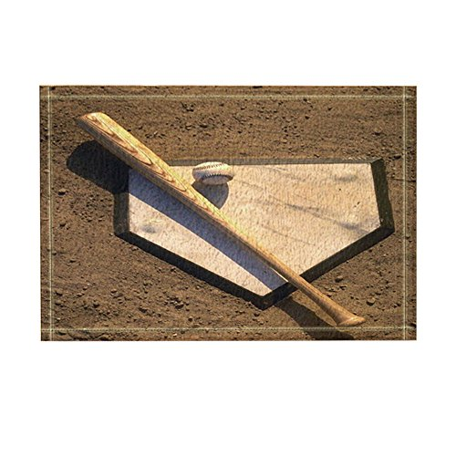 NYMB Baseball Decor, A Stick and A Ball on Home Plate Bath Rugs for Bathroom, Non-Slip Floor Entryways Outdoor Indoor Front Door Mat, Kids Bath Mat, 15.7x23.6in Brown(Multi27) -