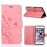 Iphone6 plus/iphone6s plus Wallet Case, Apple 5.5inch iphone6s plus Beautiful Case, Flower Butterfly Pattern Premium PU Leather Wallet Case with Wrist Strap Flip Case Cover (pink)