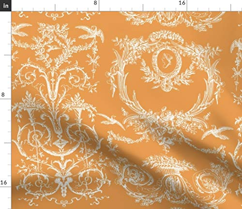 Spoonflower Toile Fabric - Rococo French Orange and White Ginger Print on Fabric by The Yard - Petal Signature Cotton for Sewing Quilting Apparel Crafts Decor - Orange Toile Fabric