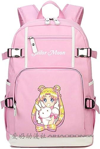 2019 Anime Sailor Moon Tsukino Usagi Printing Kawaii Backpack Women Pink