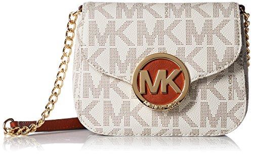 061b51d7c071 Michael Kors Fulton Vanilla PVC MK Signature Small Crossbody Bag 32T4GFTC1B  NEW