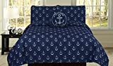 How Plumb Nautical Anchor Twin Quilt Navy Blue Bedspread Bedding 3 Piece Set with Embroidered Decorative Pillow