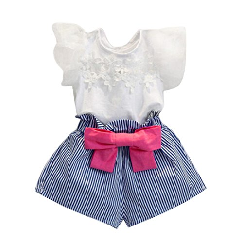 EKIMI Girls Lace T-shirt+Stripe Shorts Set Clothes Suit (5-6Y)
