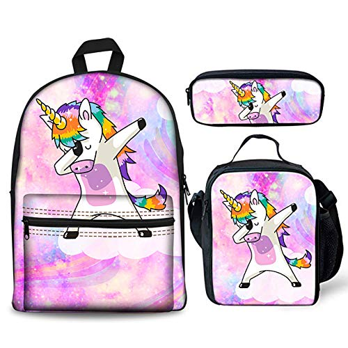 Foruidea Unicorn Galaxy Backpacks Set 3 Pieces Lunch Bag Pen Bag for Kids Back to School Lightweight Daypack for Boys Girls