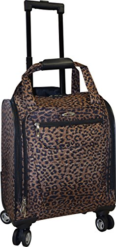 Kemyer 15 Inch Underseater Spinner With Laptop Pocket- Carry-On Wheeled Luggage (Leopard)