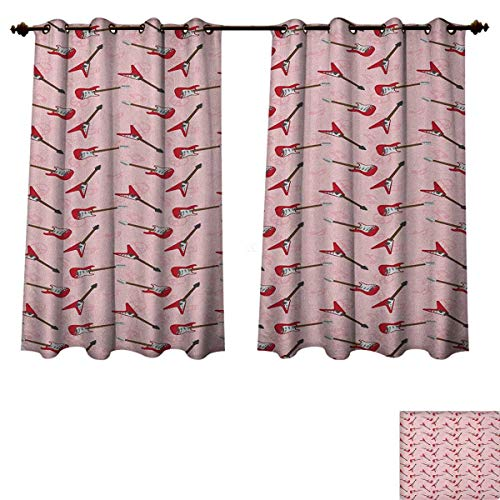(PriceTextile Guitar Blackout Curtains Panels for Bedroom Different Electric Guitar Silhouettes on Pink with Music and Peace Signs Decor Curtains Pale Pink Maroon Brown Size W63 xL72)