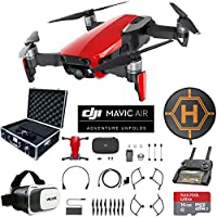 DJI Mavic Air (Flame Red) Drone Combo 4K Wi-Fi Quadcopter with Remote Controller Mobile Go Bundle with Hard Case VR Goggles Landing Pad 16GB microSDHC Card and Cleaning Kit