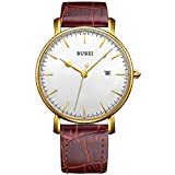 BUREI Womens Classic Wrist Casual Quartz Watches Brown Dial Calendar Mineral Glass Leather Strap
