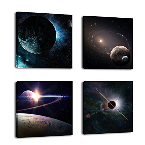 Natural art -Outer Space Planet Painting on Canvas Prints Wall Decoration Wooden Frame 4pcs/Set