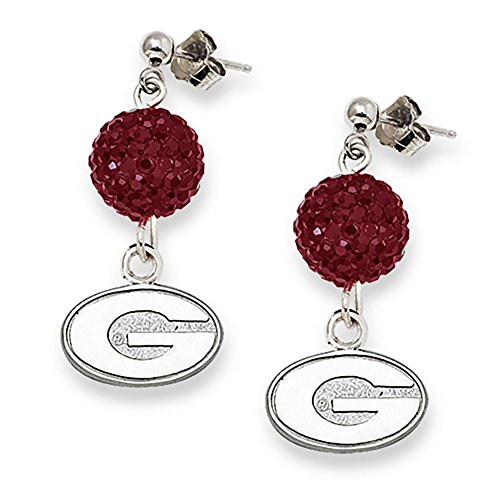 Lex & Lu LogoArt Sterling Silver Univ Of Georgia Crystal Ovation Earrings