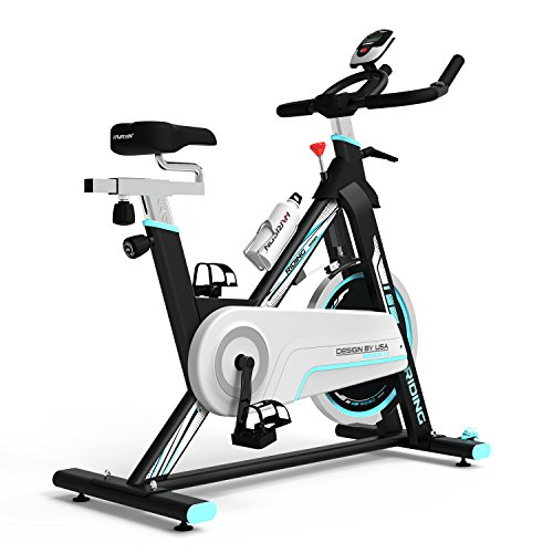 Indoor Cycle Bike,Indoor Cycle Trainer,Smooth Belt Driven Stationary Cycling Bike for Home Use, Pulse,Flywheel,Water Bottle,Transport Wheels,265 lbs Weight Capacity,Full Adjustable Stationary Bicycle