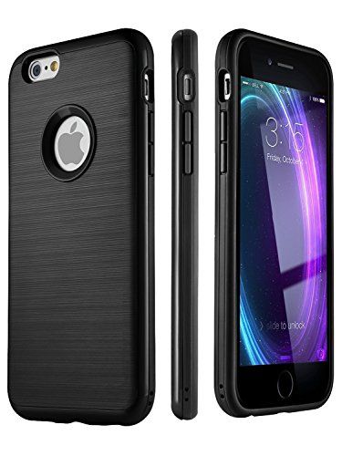 Iphone 6 6S Case   Impact Resistant Dual Layer   No Scratch Brushed Back   Black