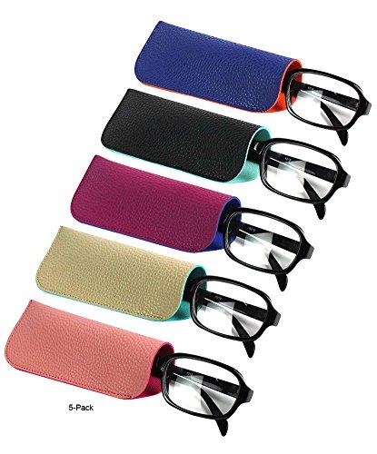 JAVOedge (5 Color PCS SET) 2 Tone Color Style Soft Pouch Eyeglass Storage Case with Microfiber Eyeglasses Cleaning - Soft Glasses Case