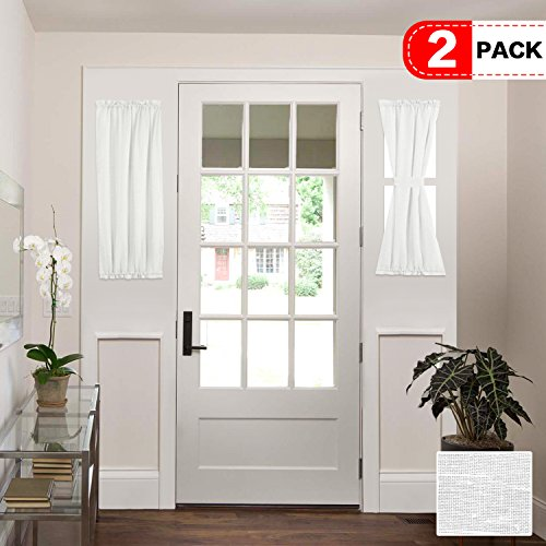 H.VERSAILTEX White Patio Door Curtain Panels Energy Saving Easy Care Short French Door Curtains, Side Lights Front Door Curtains - Two Panels 25W by 40L Inches