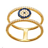 Sterling Silver Cubic Zirconia Round Center Evil Eye Pave Double Strand Ring (Gold Size 6)