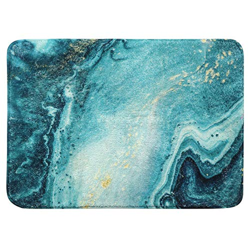 HAOCOO Bathroom Rugs 18x25 inch Turquoise Marble Velvet Bath Mat Non-Slip Shag Carpet Soft Luxury Microfiber Machine-Washable Floor Throw Rug for Doormats Tub Shower (Bath Mat Patterned)