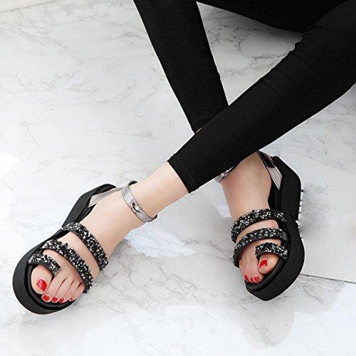 Sandalias de vestir, Ouneed ® Moda mujer verano Gladiator Rhinestone plano sandalias zapatos Negro